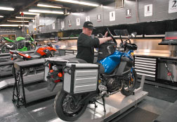 Jeff working on a Yamaha Super Tenere